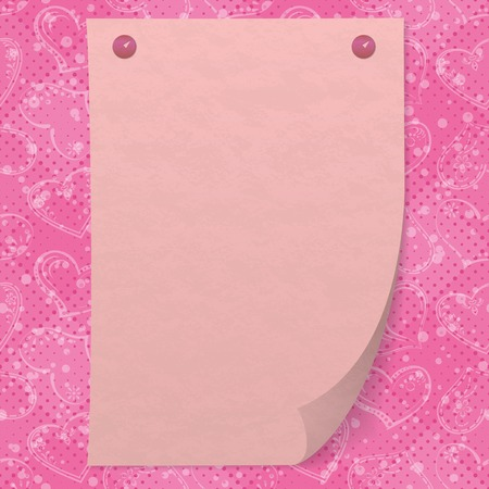 pinned: Valentine holiday background with pink sheet of paper pinned on two thumbtacks, pictogram hearts and confetti.  contains transparencies.