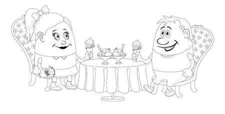 Two little children, boy and girl sitting near table and eating ice cream, funny cartoon illustration, black contour isolated on white background.  Vector