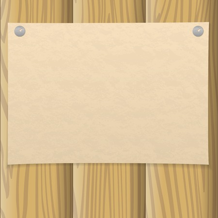pinned: Sheet of old yellowed paper pinned on two thumbtacks on a wooden wall, design background.