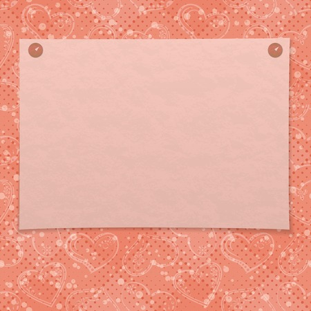 Valentine holiday background with pink sheet of paper pinned on two thumbtacks, pictogram hearts and confetti.
