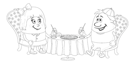 Two little children, boy and girl sitting near table, drinking juice and eating pizza, funny cartoon illustration, black contour isolated on white background.  Vector