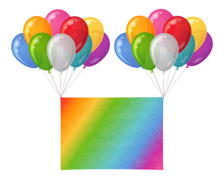 Two bunches of colorful balloons of various colors flying with sheet of rainbow paper for holiday design.  Vector