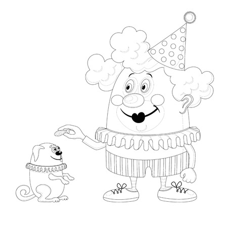 trained: Cheerful kind circus clown with trained dog, holiday illustration, funny cartoon character, black contour isolated on white background. Vector