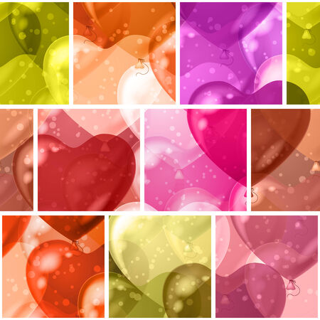Seamless holiday colorful background with heart balloons of various colors. Pattern for web design, split into separate parts.  Illustration