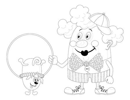 Cheerful kind circus clown with hoop, through which jumping trained dog, holiday illustration, funny cartoon character, black contour isolated on white background  Vector Vector