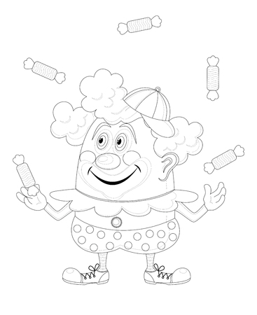 Cheerful kind circus clown juggling candies, holiday illustration, funny cartoon character, black contour isolated on white background  Vector Vector