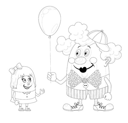 Cheerful kind circus clown gives a little girl a balloon, holiday illustration, funny cartoon character, black contour isolated on white background  Vector Vector