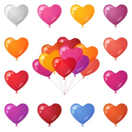 Set of colorful festive heart shaped balloons of various colors, element for holiday design isolated on white, contains transparencies  Vector Vector