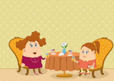 Fat mother and daughter sitting near the table in a restaurant, drinking juice and eating ice cream, funny cartoon illustration  Vector Vector