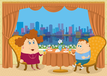 Fat mother and son sitting near the table in a restaurant with view on big city, drinking juice and eating ice cream, funny cartoon illustration  Vector Vector