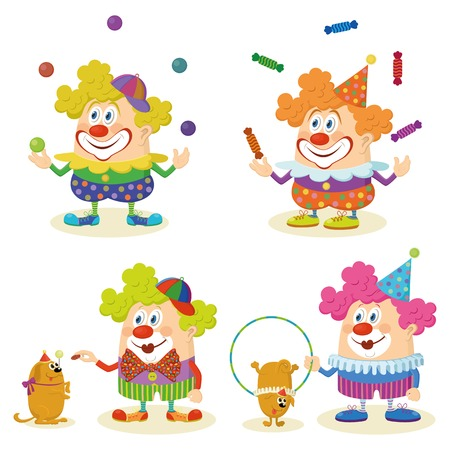 Set of cheerful kind circus clowns in colorful clothes juggling balls and candies and training dogs, holiday illustration, funny cartoon characters, isolated on white background  Vector Vector