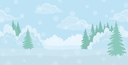 Christmas background landscape, winter white forest with snow and blue sky with clouds  Vector Illustration