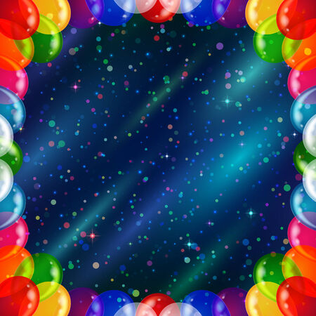 Holiday background for web design with colorful balloons frame and confetti on abstract space with dark blue sky, stars and color cosmic rays  Vector