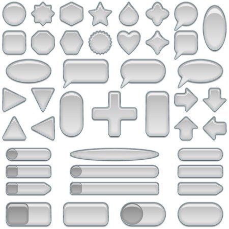 Set of glass silver buttons and sliders, computer icons of different forms for web design, isolated on white background  Vector