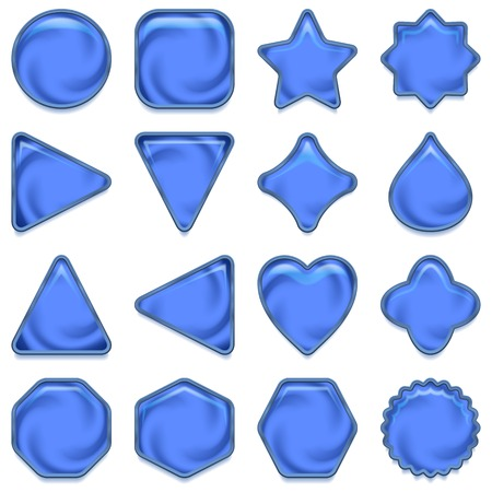 blue buttons: Set of glass blue buttons with silver frames and shadows, computer icons of different forms for web design, isolated on white background   Illustration