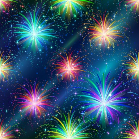 Firework background seamless of various colors  Pattern for holiday design  Vector  Illustration