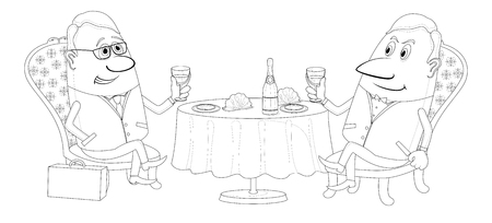 Two respectable men sitting near the table and raising a toast, celebrating a successful transaction, funny cartoon illustration, black contour on white background  Vector Vector