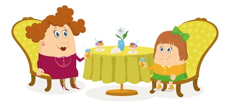 Fat mother and daughter sitting near the table, drinking juice and eating ice cream, funny cartoon illustration, isolated on white background  Vector Vector
