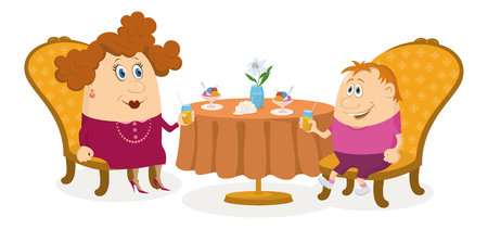 Fat mother and son sitting near the table, drinking juice and eating ice cream, funny cartoon illustration, isolated on white background  Vector Vector