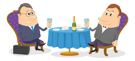 respectable: Two respectable men sitting near the table and raising a toast Illustration