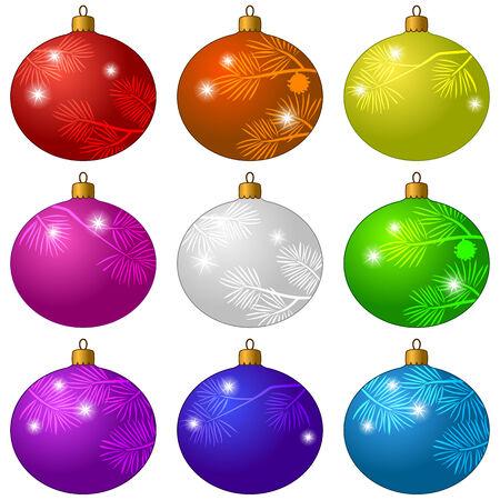 white bacground: Conjunto de decoraciones de Navidad, bolas de cristal hermoso colorido con los flashes y los patrones de ramas de abeto, aislados en blanco FUNDAMENTO. Eps10, contiene las transparencias. Vector