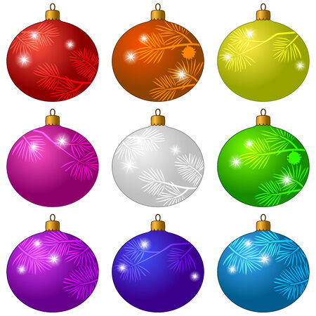 white bacground: Set of Christmas decorations, beautiful colorful glass balls with flashes and patterns of fir branches, isolated on white bacground. Eps10, contains transparencies. Vector