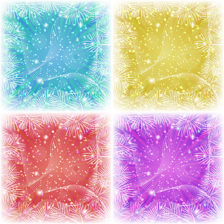 violet red: Set of Christmas backgrounds for holiday design with stars, pine branches, confetti and rays, blue, yellow, red and violet. Eps10, contains transparencies. Vector