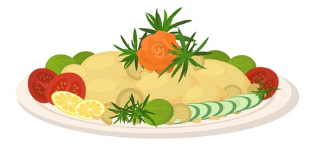 Delicious food on plate, fried potatoes with tomatoes, cucumbers, lemons, mushrooms, rosemary, Brussels sprouts and rose of vegetables isolated on white background. Vector