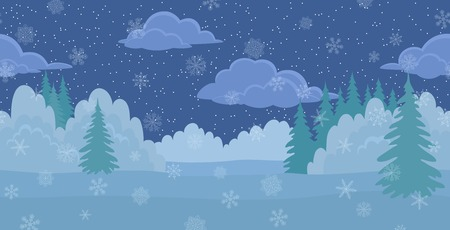 Christmas horizontal seamless background, winter landscape, night forest with snow, white snowflakes and starry cloudy sky. Vector Illustration
