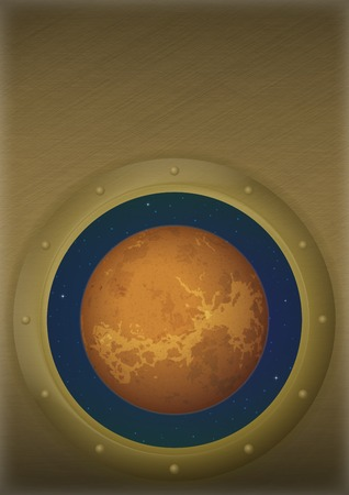 Space ship round window porthole with planet Venus and stars on the wall with place for text. Elements of this image furnished by NASA, www.visibleearth.nasa.gov. photo