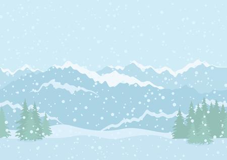 snowdrifts: Seamless orizzontale sfondo paesaggio con cielo nevoso, abeti, cumuli di neve e le montagne in lontananza. Vettoriali