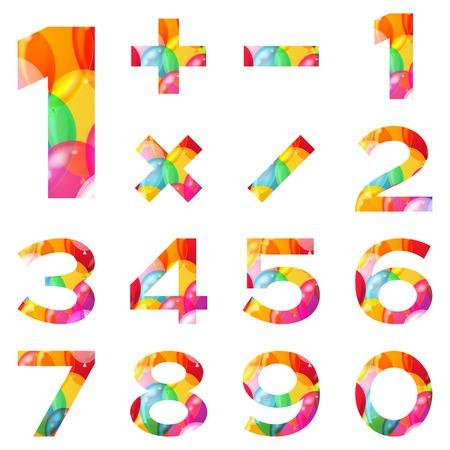 signos matematicos: Los signos de los n�meros y signos matem�ticos decoradas con globos de colores.
