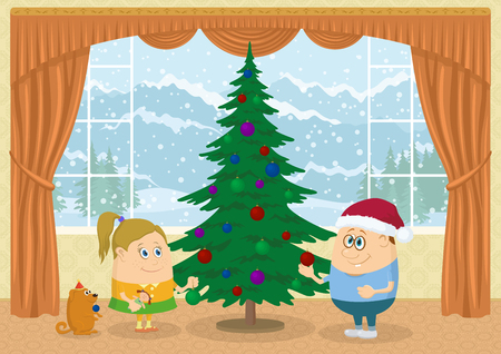 Children, boy, girl and dog decorating fir tree in room with view on mountains and snowy sky, Christmas holiday background illustration, funny cartoon characters.   Vector