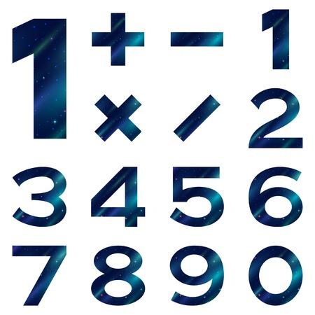 signos matematicos: Conjunto de n�meros y signos matem�ticos estilizado espacio azul con estrellas y nebulosas, elementos para el dise�o web.