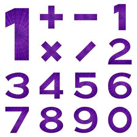 signos matematicos: Conjunto de n�meros y signos matem�ticos estilizado espacio violeta con estrellas, elementos para el dise�o web. Eps10, contiene las transparencias. Vector