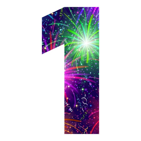 Mathematical sign, number one, stylized colorful holiday firework with stars and flares, element for web design. Eps10, contains transparencies. Vector