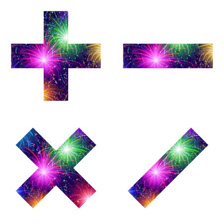 signos matematicos: Conjunto de signos matem�ticos m�s, menos, multiplicaci�n y divisi�n, estilizado colorido de fuegos artificiales del d�a de fiesta con las estrellas y las bengalas, elementos para el dise�o web. Eps10, contiene las transparencias. Vector