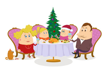 family isolated: Happy family, father, mother, son and daughter, sitting near the table and fir tree and celebrating Christmas, holiday cartoon, isolated on white background. Eps10, contains transparencies. Vector Illustration