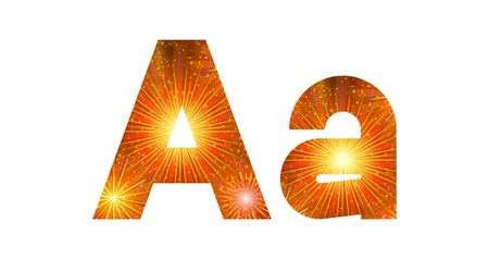 fire letter: Set of English letters signs uppercase and lowercase A, stylized gold and orange holiday firework with stars and flares, elements for web design. Eps10, contains transparencies. Vector