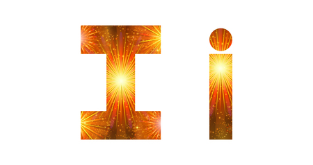 i beam: Set of English letters signs uppercase and lowercase I, stylized gold and orange holiday firework with stars and flares, elements for web design. Eps10, contains transparencies. Vector Illustration