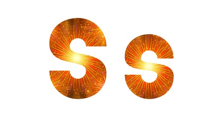 colourful fire: Set of English letters signs uppercase and lowercase S, stylized gold and orange holiday firework with stars and flares, elements for web design. Eps10, contains transparencies. Vector