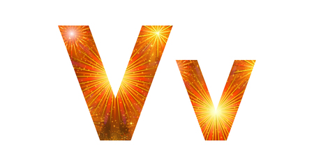 Set of English letters signs uppercase and lowercase V, stylized gold and orange holiday firework with stars and flares, elements for web design. Eps10, contains transparencies. Vector Vector
