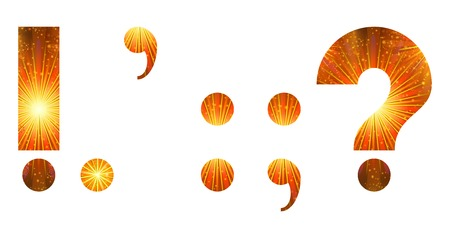 colon: Set of mathematical and punctuation signs exclamation point, period, comma, colon, semicolon, question mark, stylized gold and orange holiday firework with stars and flares, elements for web design. Eps10, contains transparencies. Vector