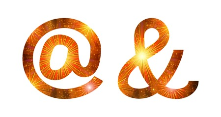 Set of signs commercial at, ampersand, stylized gold and orange holiday firework with stars and flares, elements for web design. Eps10, contains transparencies. Vector Vector