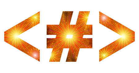 less: Set of signs hash mark, greater-than sign, less than sign, stylized gold and orange holiday firework with stars and flares