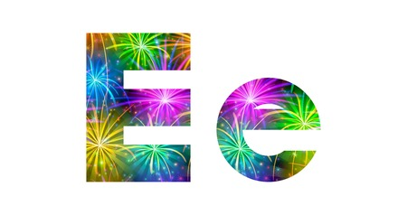 Set of English letters signs uppercase and lowercase E, stylized colorful holiday firework with stars and flares, elements for web design. Eps10, contains transparencies. Vector