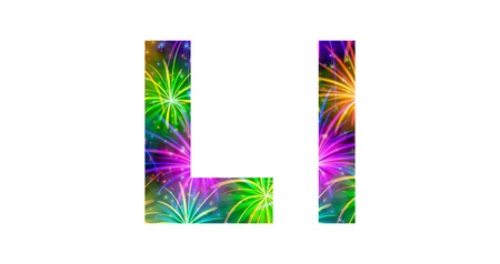 Set of English letters signs uppercase and lowercase L, stylized colorful holiday firework with stars and flares, elements for web design. Eps10, contains transparencies. Vector Vettoriali