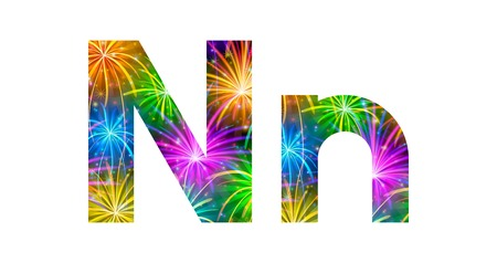 Set of English letters signs uppercase and lowercase N, stylized colorful holiday firework with stars and flares, elements for web design. Eps10, contains transparencies. Vector