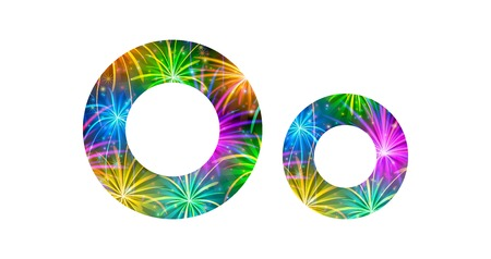 Set of English letters signs uppercase and lowercase O, stylized colorful holiday firework with stars and flares, elements for web design. Eps10, contains transparencies. Vector