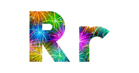Set of English letters signs uppercase and lowercase R, stylized colorful holiday firework with stars and flares, elements for web design. Eps10, contains transparencies. Vector